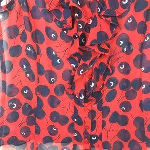 Nanette Lepore Tops - Nanette Lepore Red Printed Silk Tank Top